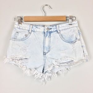 Forever 21  Hi-Rise Distressed Denim Jean Short-XS